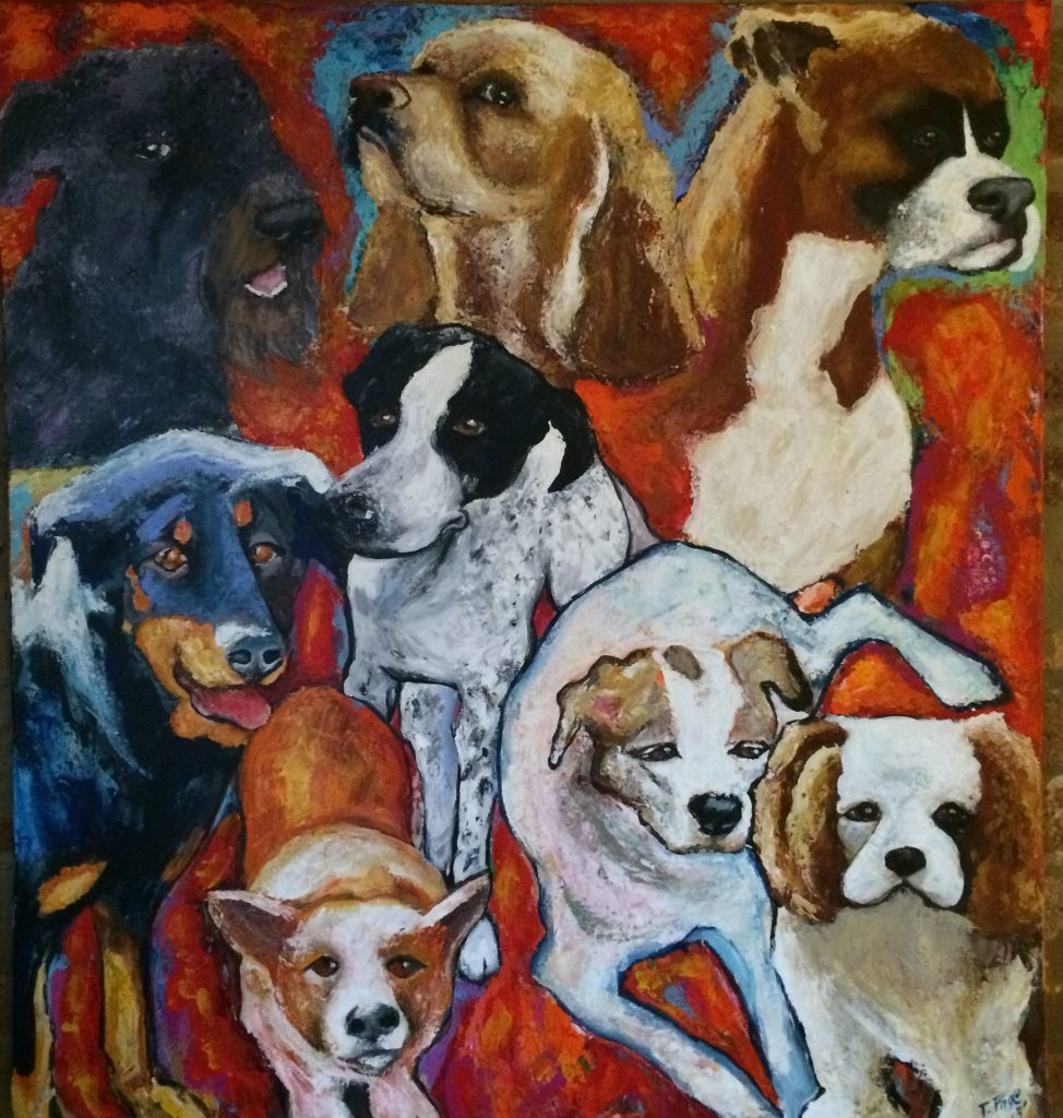 "Chicago Artist Pet Portrait Acrylic on canvas 40"" x 40"""