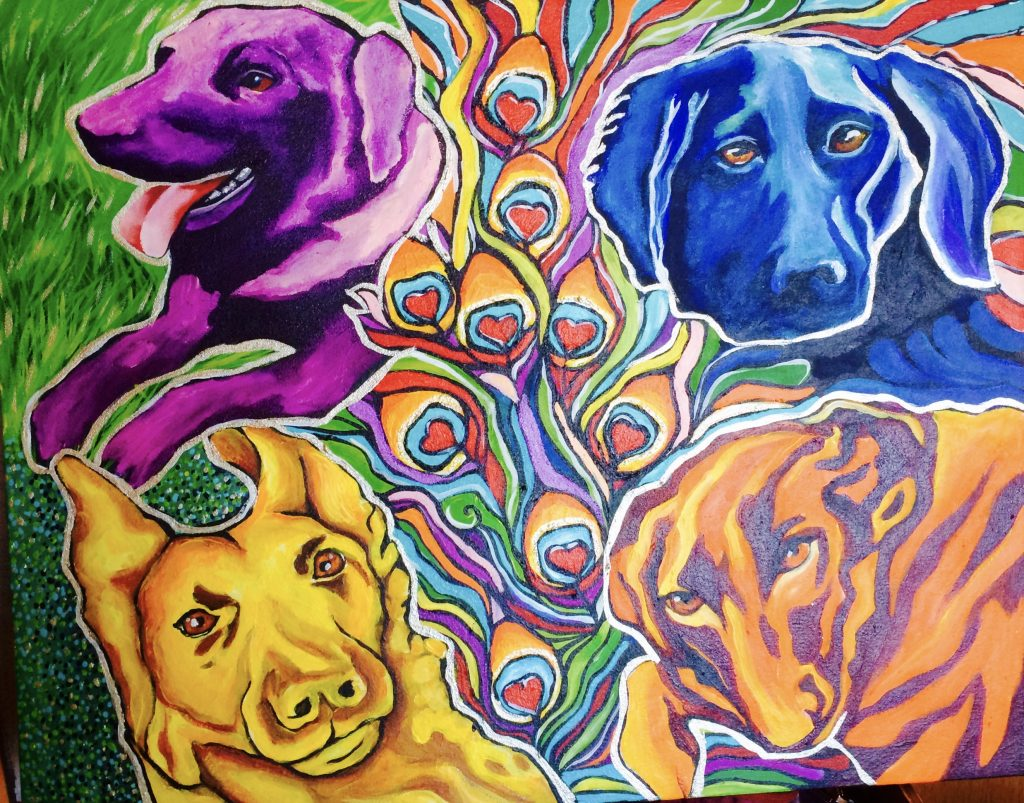 "Chicago Artist Pet Portrait acrylic on canvas 24"" x 30"""