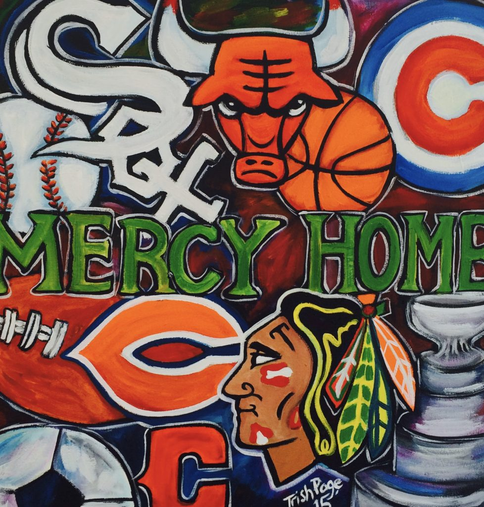 Chicago Artist Sports Painting acrylic painting on canvas