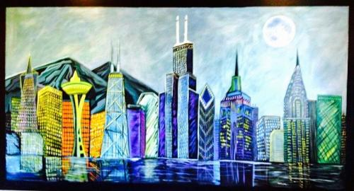 City Wall Mural in Office