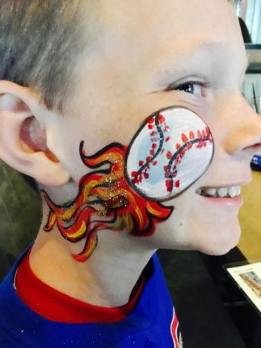 Face Painting flaming baseball