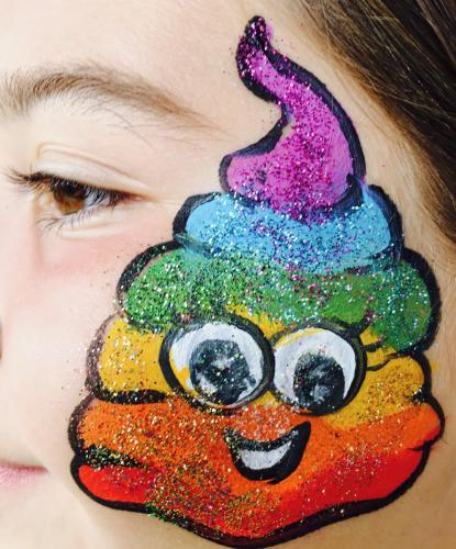 Poop Rainbow Emoji Face Painting