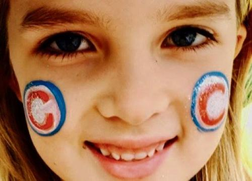 Chicago Cubs face painting with glitter