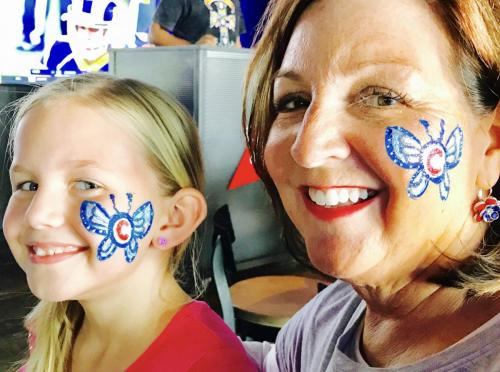 Face Painting Chicago Cubs Butterflies at the Brickhouse Tavern