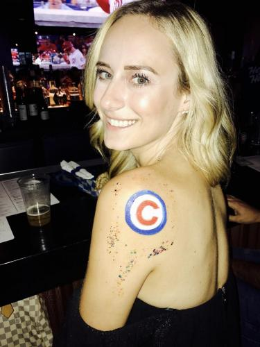 Body Painting Chicago Cubs at Wigleyville