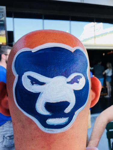 Chicago Cubs bald head painting at Brickhouse Tavern
