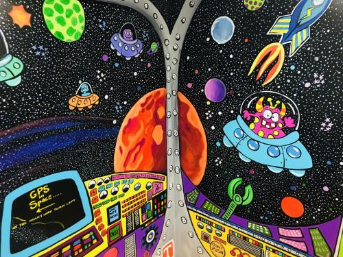 Planets and alien spaceships wall mural