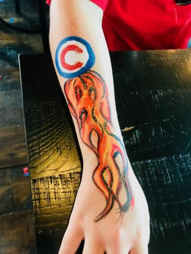 Chicago Cubs Fire arm painting