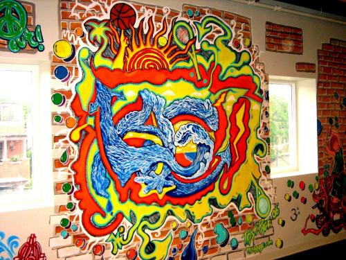 Colorful lettering mural at a Health Club. Chicago