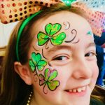 St Paddy's Day Tinley Park Shamrock face painting with glitter
