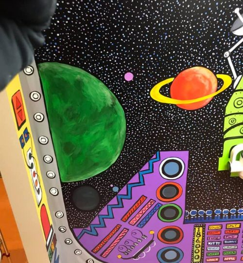 Planets and Spaceship Mural