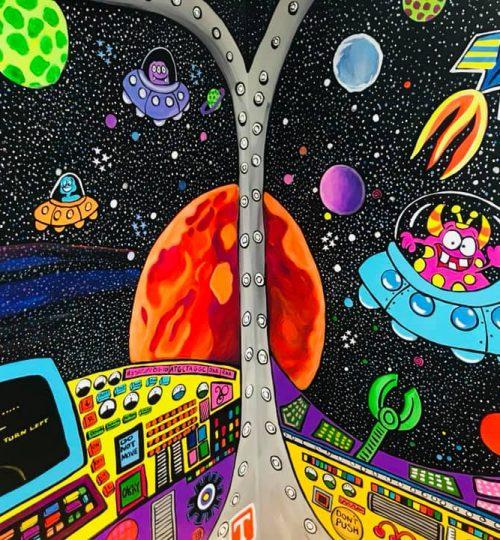 Planets spaceship mural