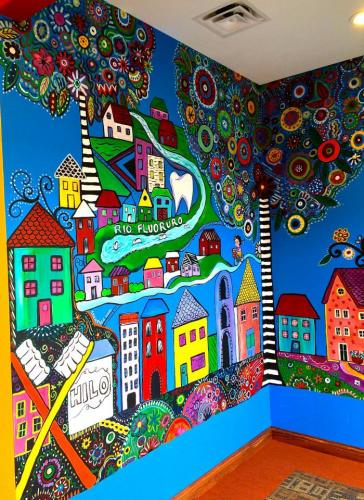 Children's wall mural at a pediatric dental office
