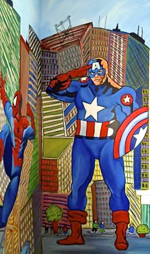 Superhero Wall Mural in Kids playroom. Chicago