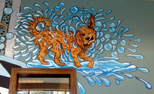 Doggy day spa and grooming wall mural