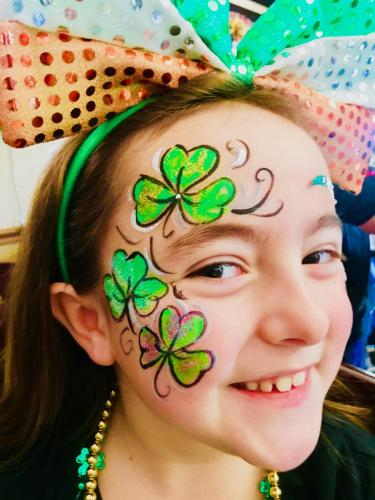 St Paddy's Day face painting with glitter