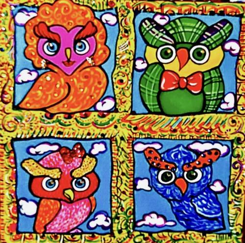 Owl Family... Who? - Acrylic on canvas