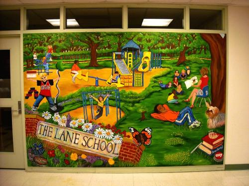 The Lane School wall mural in Hinsdale IL