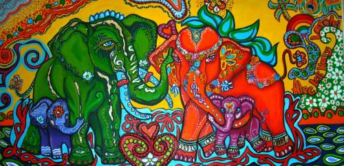 Elephant Family - Commission painting acrylic on canvas