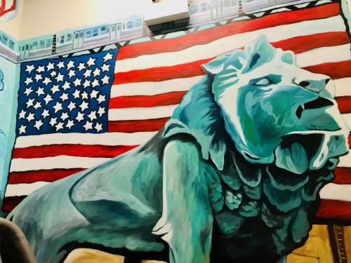 Art Institute wall mural Lion at Urban Child Academy in Chicago
