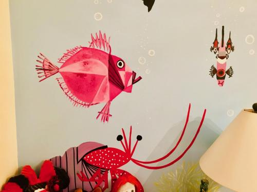 Charlie Harper wall mural fish. Oak Park IL
