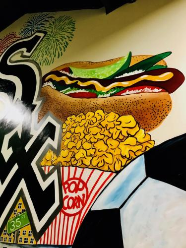 Urban Child Academy popcorn, hotdog wall mural