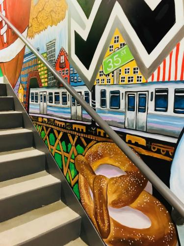 Urban Child Academy large pretzel & el train wall mural