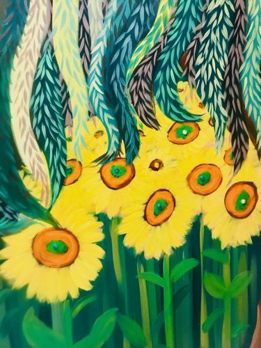 Sunflowersand weeping willow wall mural