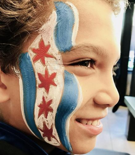 Chicago flag face painting