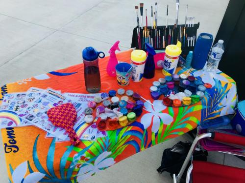 My face painting set up. I bring everything including my own table and chair.