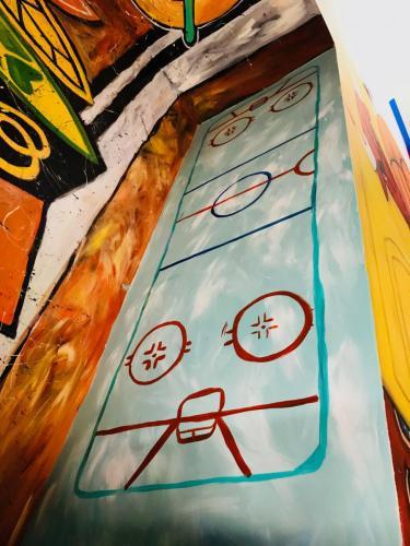 Urban Child Academy, Chicago Blackhawks hockey rink wall mural