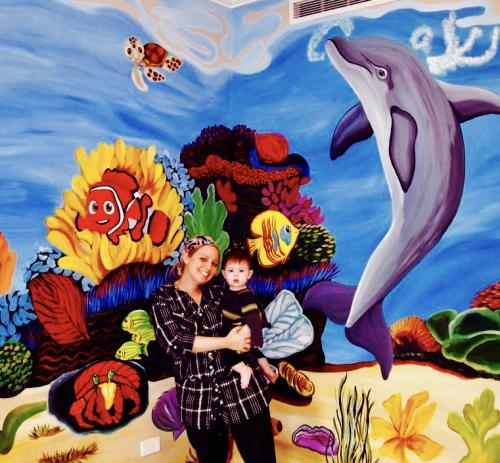 Dolphin nursery wall mural in Chicago