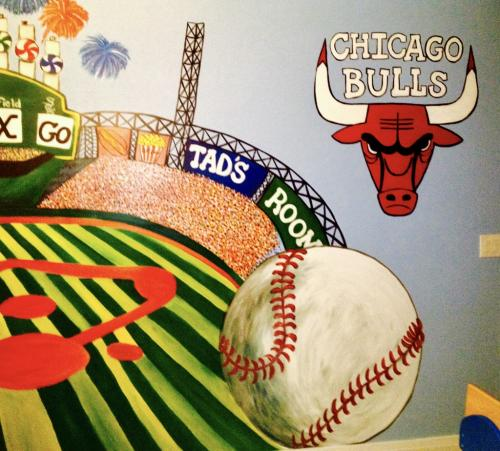 Sports wall mural, Chicago Bulls and Baseball