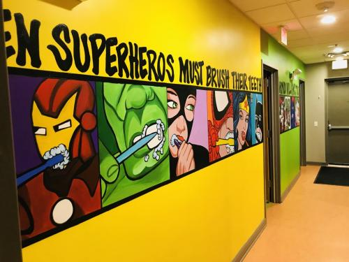 Little Teeth Big Smiles, Superhero wall mural