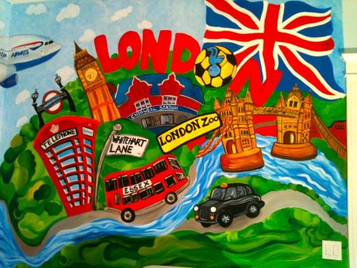 London town wall mural in a nursery in Chicago