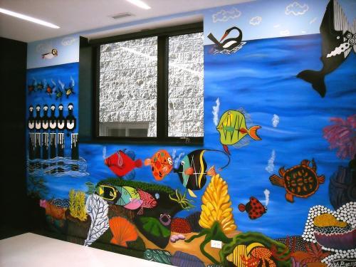 Charlie Harper wall mural underwater theme